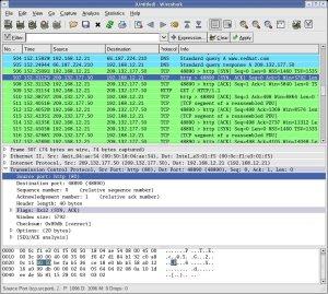 Captura de tráfego TCP através do Wireshark.